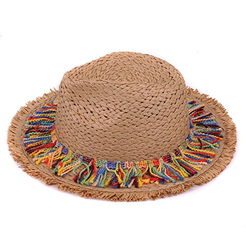 Lavenz Kids sun hats for children jazz caps boy fedora trilby girls casual solid summer beach sun paper straw panama hat
