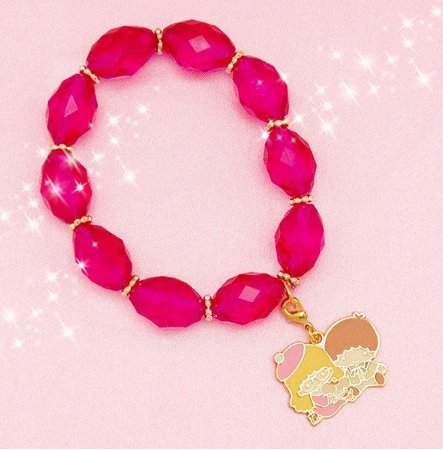 [Kikirara Little Twin Stars x Mirei Kiritani bracelet Pink Sanrio New] (Twins From France Costume)
