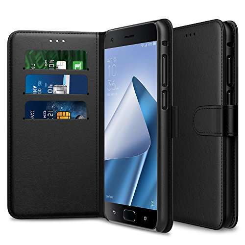 Price comparison product image MoKo ASUS ZenFone 4 Pro Case - PU Leather Kickstand Flip Rugged Case Full Body Scratch-resistant Cover with Card-slot for ASUS ZenFone4 Pro (ZS551KL) 2017 - BLACK