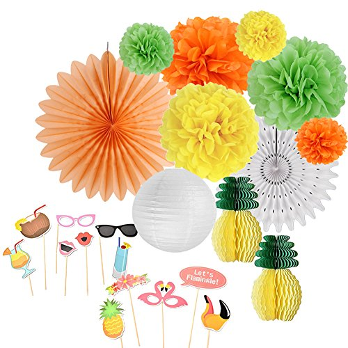 SUNBEAUTY Tropical Pink Flamingo Pineapple Party Decorations Kit for Birthday Baby Shower Luau Beach Summer Party Supplies ()