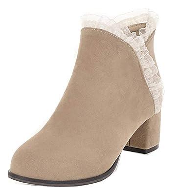 Easemax Femme Fashion Dentelle Chaussure Montante Bout Rond Bottines  Abricot 34 EU 50d644c5b5cd