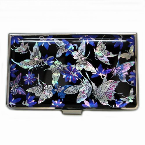 Mother Of Pearl Butterfly Inlay - Inlay with Mother of Pearl Blue Butterfly Business Credit Name Id Card Holder Case Metal Stainless Steel Engraved Slim Purse Pocket Money Wallet