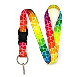 Buttonsmith Rainbow Dots Premium Lanyard with Buckle and Flat Ring - Made in The USA