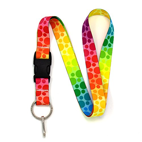 Buttonsmith Rainbow Dots Premium Lanyard with Buckle and Flat Ring - Made in The USA by Buttonsmith