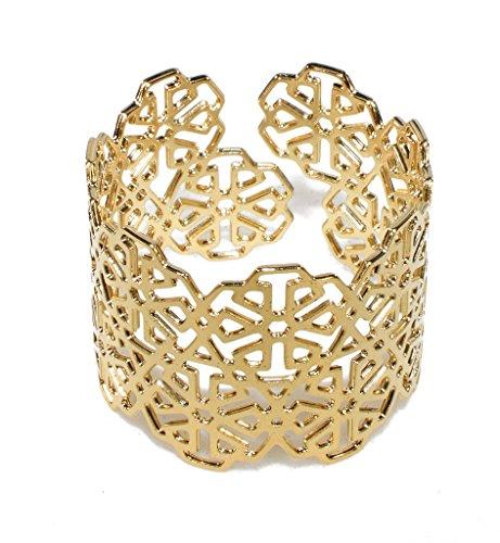 Unisex Gold Plated Adjustable Cuff Bracelet Moroccan Motif Bangle Laser Cut Arabian Geometric Pattern by NanoStyle Jewelry