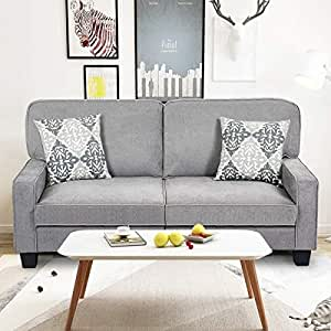 Astounding Giantex Sofa Couch Loveseat Fabric Upholstered Removable Back Seat Cushion Modern Home Living Room Furniture Set Bedroom Sofa Gray Machost Co Dining Chair Design Ideas Machostcouk