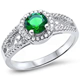 Sterling Silver Halo Green Emerald & Cubic Zirconia Ring Sizes 9