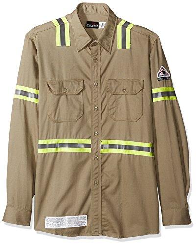 Bulwark Men's Enhanced Vis Uniform Shirt-Excel Fr-Big/Tall, Khaki, Large