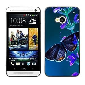 Autoridad De La Mariposa Negro - Metal de aluminio y de plástico duro Caja del teléfono - Negro - HTC One M7