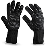 Msmsse Oven Gloves Cooking Mitts BBQ Grilling Fireplace Accessories and Welding Resistant and Forearm Protection with High Performance Heat Resistance (1 Pair)
