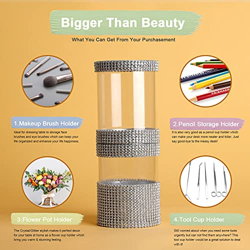 Makeup Brush Holder for Table Travel Brushes Organizer Two-Cup Brush Storage for Women Ideal Gift for Home Office (Crystal Silver)