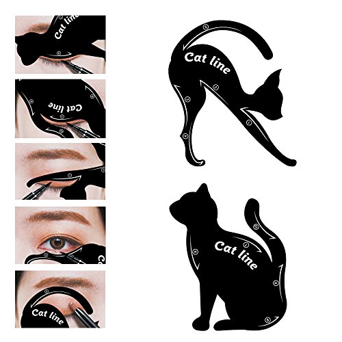 LKE 2 in 1 Cat Eyeliner Stencil,Matte PVC Material Smoky Eyeshadow Applicators Template Plate,Professional Multifunction Black Cat Shape Eye liner & Eye Shadow Guide Template (1 - Cat Eyebrow