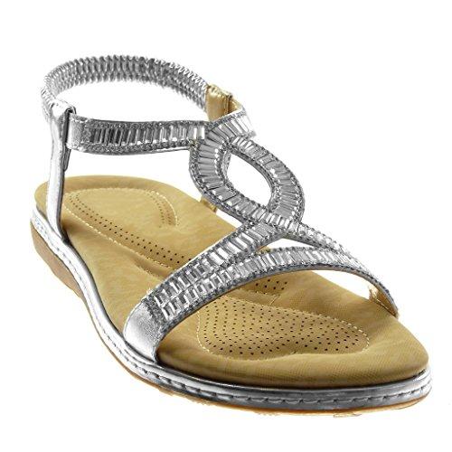 Angkorly Zapatillas Moda Sandalias Slip-On Correa Correa de Tobillo Mujer Strass Fantasía Acabado Costura pespunte Tacón Plano 3 cm Plata