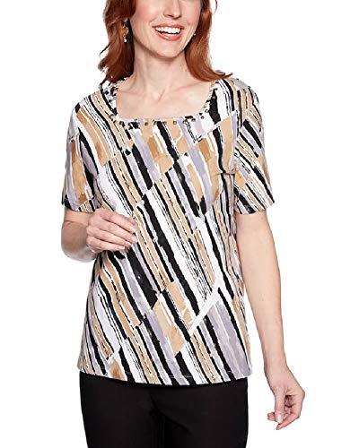 (Alfred Dunner Women's 2019 Classics Diagonal Stripe Printed T-Shirt (Large,)