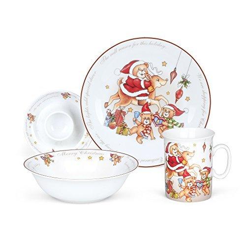 NEX Porcelain Dinnerware Set, 4-Piece Christmas Bear Tableware Set, Ceramic ()