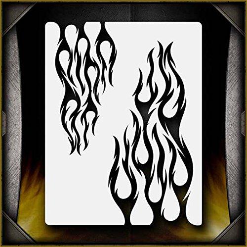 Tribal Flames 4 AirSick Airbrush Stencil Template - Flames Airbrush Stencil