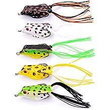 Aorace 5pcs/lot Hollow Frog Fishing Lures 4.2cm/5.8g Topwater Soft Baits Crankbait for Bass Snakehead Trout Salmon etc.