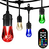 Enbrighten 37790, Black, Vintage Seasons LED Warm White & Color Changing Café String Lights, 48ft, 24 Premium Impact Resistant Lifetime Bulbs, Wireless, Weatherproof, Indoor/Outdoor, 48 Feet