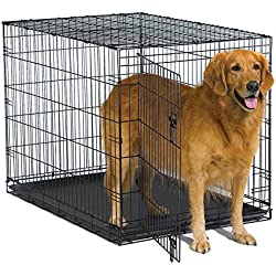 "New World 42"" Folding Metal Dog Crate, Includes Leak-Proof Plastic Tray; Dog Crate Measures 42L x 30W x 28H Inches, Fits Large Dog Breeds"