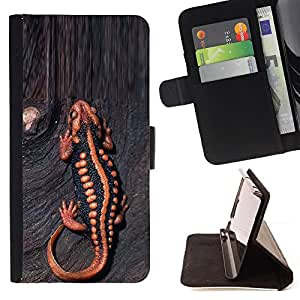 Ihec-Tech / Negro Flip PU Cuero Cover Case para Apple Iphone 6 - Venom animal bois exotique