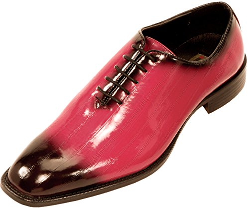 Bolano Mens Exotic Faux Eel Skin Print Oxford Dress Shoe in Fuchsia and Black: Style Brayden Fuchsia-003