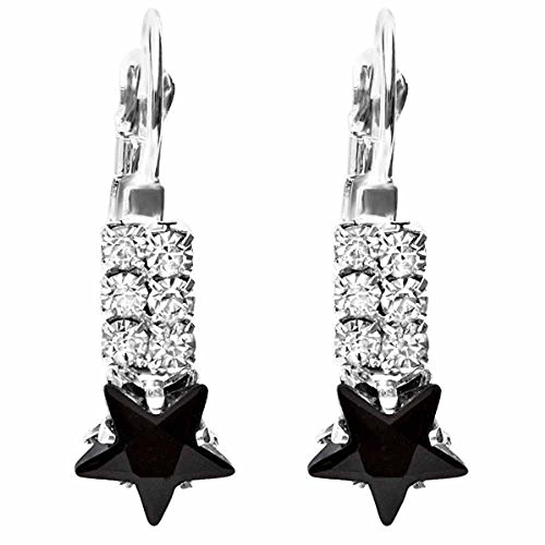 Black Star & White Round Crystals Ladies Danging Earrings(9mm x 25 mm)