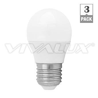 3 Pack Vivalux Cameo autonivelante LED rosca Edison pequeña, Mini Globe bombilla 6 W E27