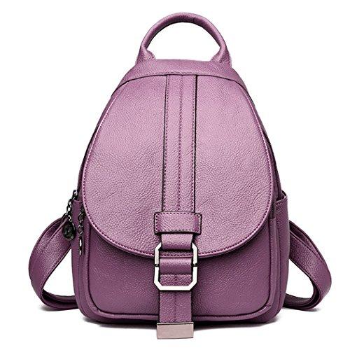 DEERWORD Mujer Bolsos mochila Bolsas escolares Bolsos bandolera Shoppers y bolsos de hombro Cuero de PU Burdeos Púrpura