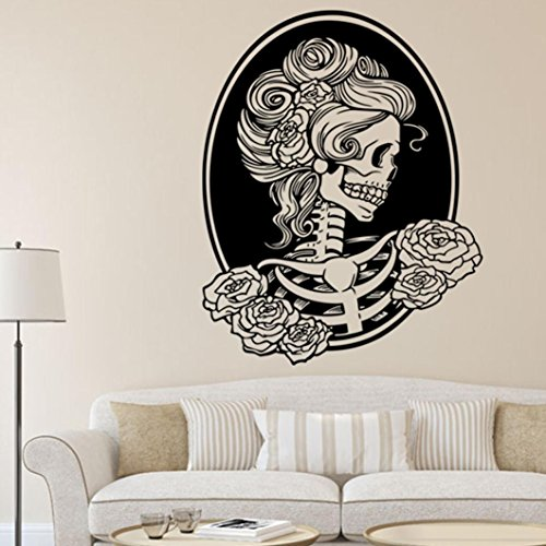 Binmer(TM) Halloween Skeleton Background Decorated Living Room Bedroom Wall Stickers Pary Decor (E)