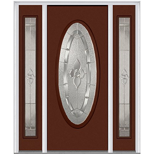 National Door Company Z012277L Fiberglass Smooth, Redwood, Left Hand In-swing, Exterior Prehung Door, Master Nouveau, Large Oval, 36