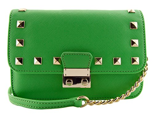 88 Amy Green Studded Mini Crossbody Bag