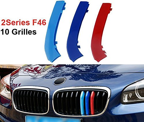 BIzTech Fit for BMW 2 Series GT Active Gran Tourer F45 F46 10 Slats Bars Grilles Bonnet Hood Kidney Clip in Insurts Grille Stripes Cover Decor M Sport Tech Power Performance 3 Color