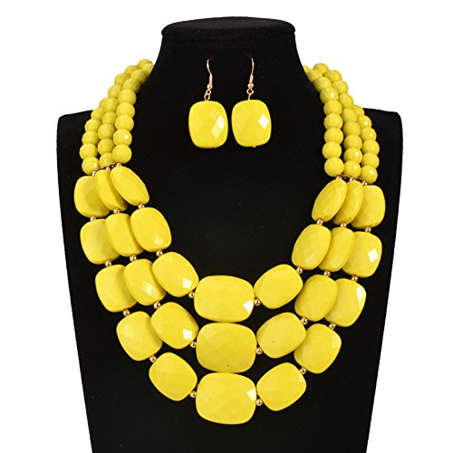 Nigeria Wedding african beads jewelry set 9 color acrylic beads making choker necklace set for women MOON GIRL statement (Yellow)