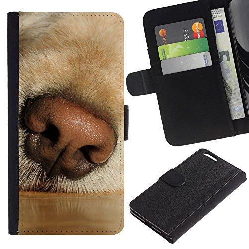 EuroCase - Apple Iphone 6 PLUS 5.5 - labrador retriever muzzle snout dog nose - Cuero PU Delgado caso cubierta Shell Armor Funda Case Cover