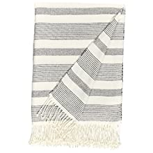 "Stone & Beam Striped Throw Blanket, Soft and Easy Care, 80"" x 60"", Fringed, Black"