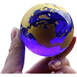 Besot Crystal Glass Marbles Earth Globe World map Quartz Crystals Sphere Terrarium Desk Ornaments Nautical Home Decor (Gold)