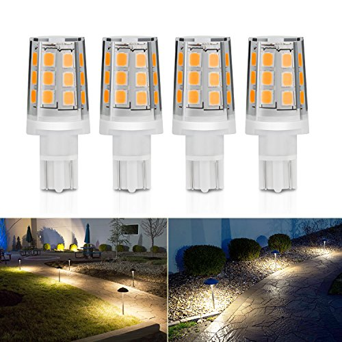 - Kohree 2.5W LED Replacement Landscape Pathway Light Bulb 12V AC/DC Wedge Base T5 T10 for Malibu Paradise Moonrays and more (4 Pack, 3000K, Warm White/Soft White)