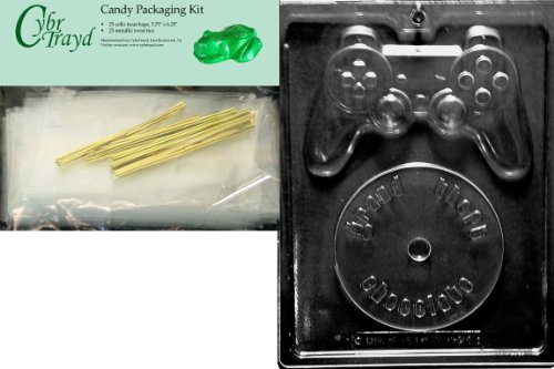 Cybrtrayd Video Game Kit Miscellaneous Chocolate Candy Mold with Packaging Bundle of 25 Cello Bags, 25 Gold Twist Ties and Chocolate Molding Instructions