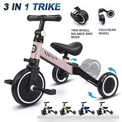 XJD 3 in 1 Kids Tricycles for 1-3 Years Old Kids Trike 3 Wheel Bike Boys Girls 3 Wheels Toddler Tricycles Toddler Bike Trike Upgrade 2.0 (Pink)
