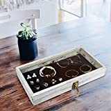 MOOCA Wood Glass Top Jewelry Display Case, Wooden