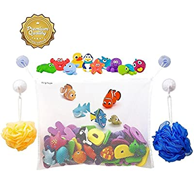 #1 Rated Bath Toy Organizer - Large Storage Basket for Baby Boys and Girls with 2 Extra Strong Suction Cups - Strongly Suctions to Tile and Glass - Washable Mold Resistant by Tidy Toys that we recomend personally.