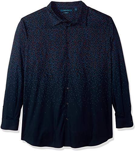 Perry Ellis Men's Big and Tall Stretch Print Shirt, Dark Sapphire/DFW, -