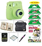 Fujifilm Instax Mini 9 Instant Camera (Lime Green) + Fujifilm Instax Film 50 Sheets + 4 Batteries & Charger + Photo Album + Convenient Case + MORE