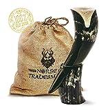 "Genuine Ox-Horn Viking Drinking Horn - w/Horn Stand and Burlap Gift Sack - 12"" Horn"