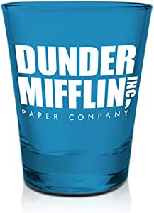The Office Dwight Schrute's Shot Glass [BLUE 1.5oz] Vodka, Tequila, Whisky and Liqueurs Shot Glass, Heavy Base Shot Glass (OFFICIALLY LICENSED), By Just Funky