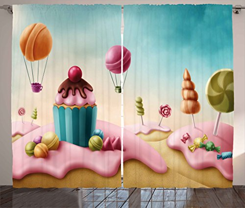 Ambesonne Girls Room Decor Curtains, Fantasy Candyland with