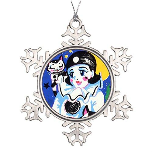 Pierrette Costume (Ai Vion Personalised Christmas Tree Decoration Pierrette Pierro Clown Full Moon Night Twin Cats Making Christmas Snowflake Ornaments)