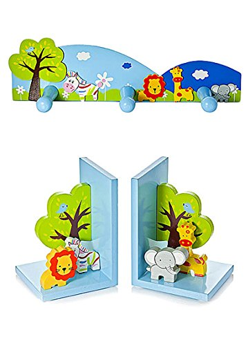Kids 3D Safari Animal Bookends & Matching Coat Hooks for Boys or Girls Themed Bedroom or Baby Nursery Mousehouse Gifts