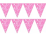1st Birthday Girl Stars Design Pink Age Bunting - Ideal for your little girls 1st birthday, Special Occasion, Party Decoration Bunting Flags One Sided (1 Pack of Bunting - 12pcs)