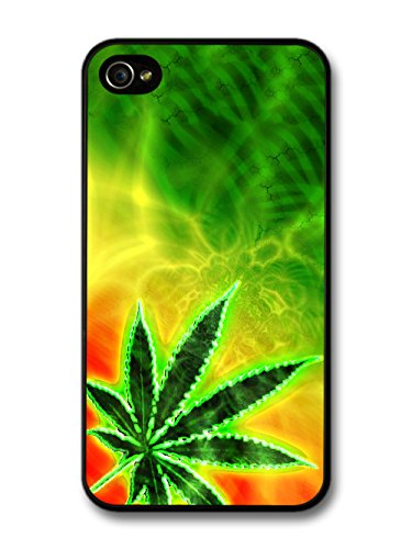 Trippy Weed Marijuana Leaf Cannabis Jamaican Design coque pour iPhone 4 4S